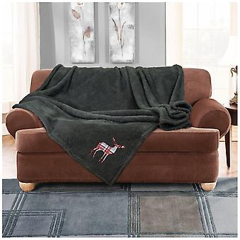 Teddy Embroidered Throws Throw Super Soft Warm Fleece Blanket For Sofa Couch Bed