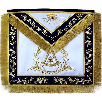 Masonic Past Master Apron Blue Hand Embroidered Golden Bullion-Satin