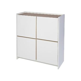 Gillmore White And Oak Laminated Contemporary Square Media Sideboard