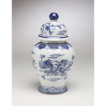AA Importing 59827 14 Inch Blue And White Ginger Jar With Lid