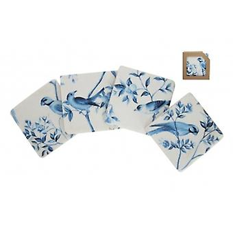 Gisela Graham Set Of 4 Blue Birds Resin Coasters
