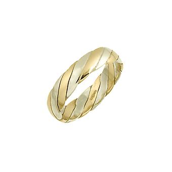 Star Wedding Rings 9ct White & Yellow Gold 5mm Twisted Wedding Ring