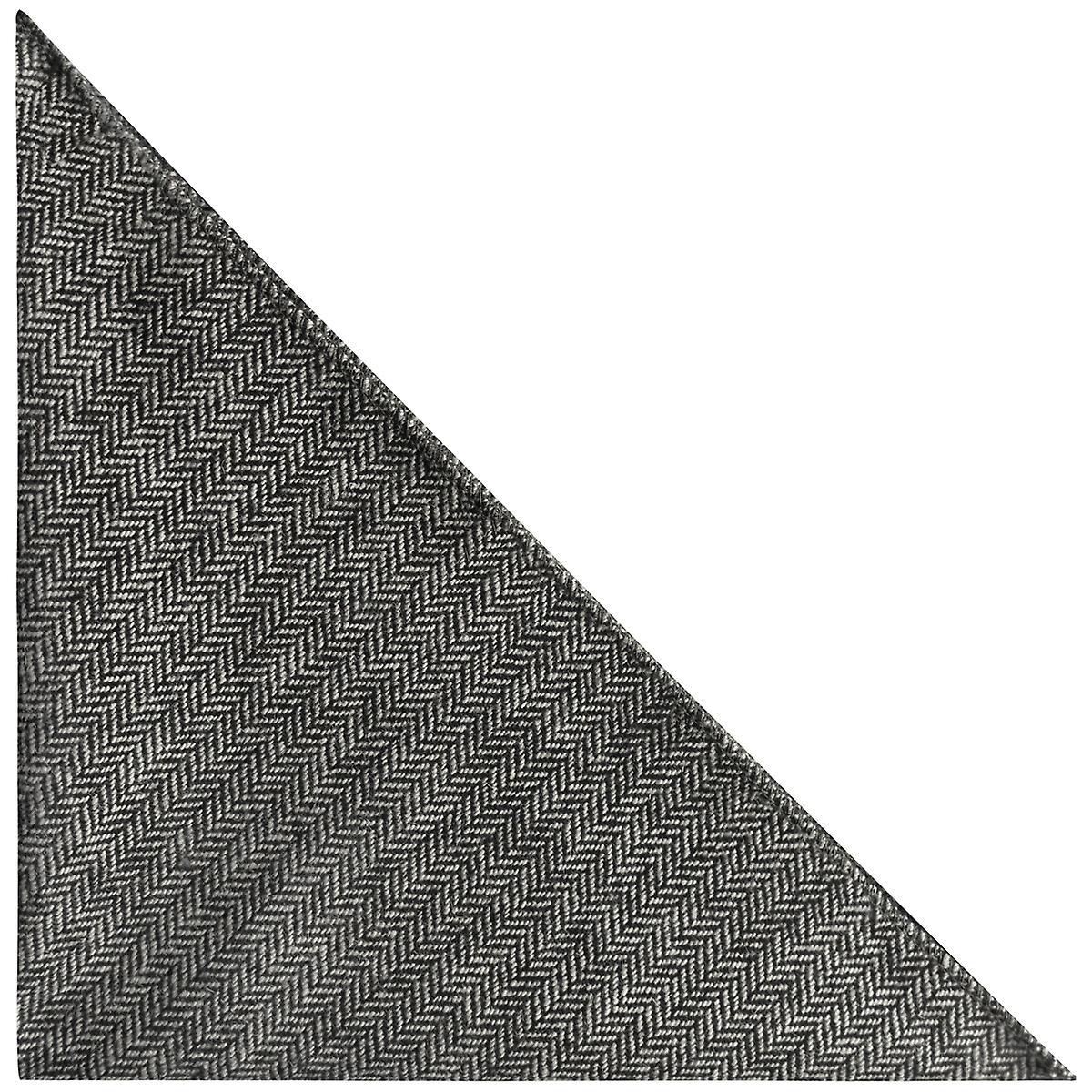 Black Herringbone Pocket Square, Handkerchief, Charcoal Grey