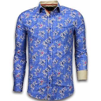E Shirts - Slim Fit - Woven Flowers Pattern - Blue