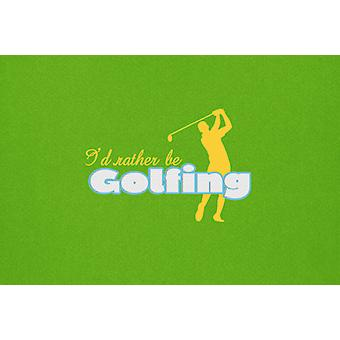I'd rather be Golfing Man on Green Fabric Placemat