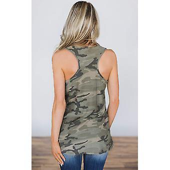 Angashion Women's Camo Tank - Casual Sleeveless American, Army Green, Size Large