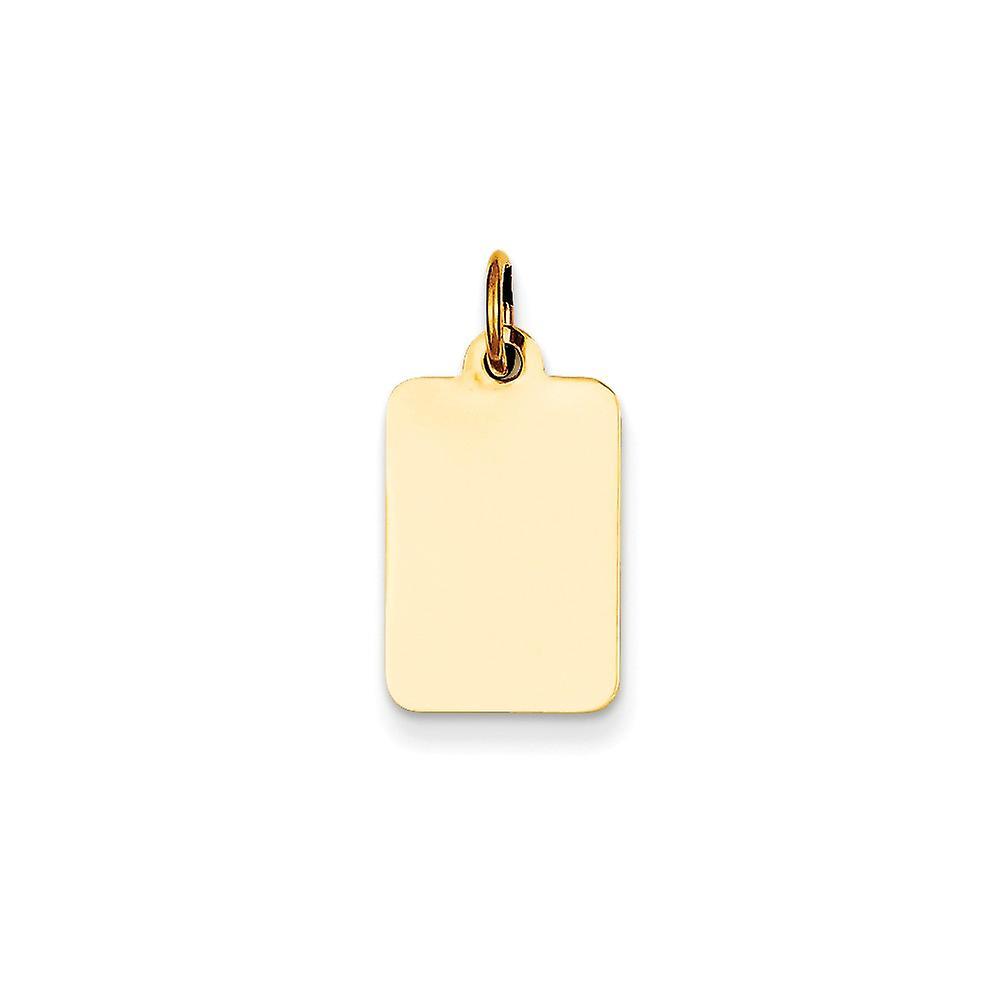 14 k Gelbgold solide poliert Ebene .009 Gauge rechteckige gravierbare Scheibe Anhänger Anhänger Halskette Schmuck Geschenke für Wo