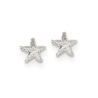 925 Sterling Silver Solid Polished Post Boucles d'oreilles Coquille de mer Nautical Starfish Mini pour les garçons ou les filles Boucles d'oreilles