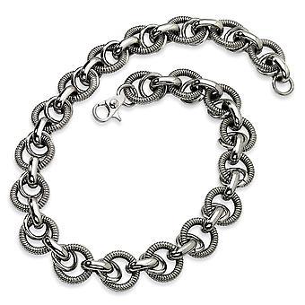 Textura de acero inoxidable pulido lujo langosta cierre lujo enlace collar - 22 pulgadas