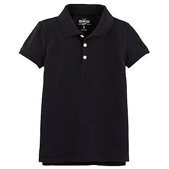 Osh Kosh Girls' Short Sleeve Uniform Polo, Black 1, 4-5