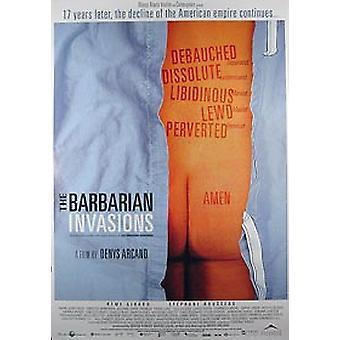 Barbarian Invaions (yksipuolinen säännöllinen) alkuperäinen elokuva juliste