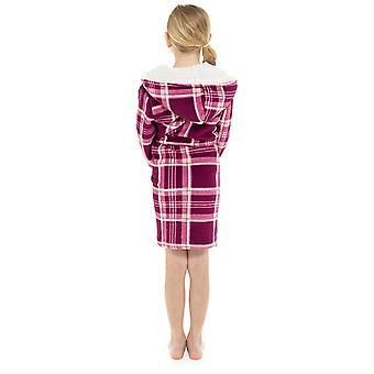 Girls Hooded Verificați Print Design Soft Fleece Dressing Gown