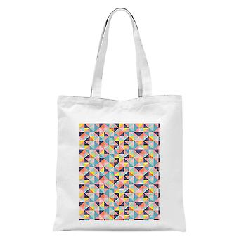 Funky Colourful Square Checkered Pattern Tote Bag - Blanc