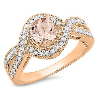 Dazzlingrock samling 14K rund Morganite & hvit diamant vridd Split skaft brude Forlovelses ring, rose gull