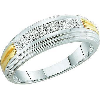 Dazzlingrock Collection 0.10 Carat (ctw) White Diamond Men's Hip Hop Wedding Band Ring, Sterling Silver