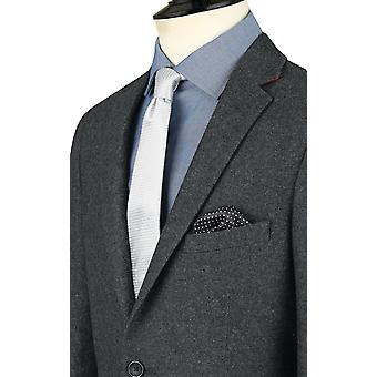 Dobell mens grijs Donegal Tweed jas slim fit inkeping revers