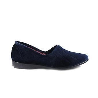 GBS Audrey Navy Velour Womens Slip On Full Shoe Slippers