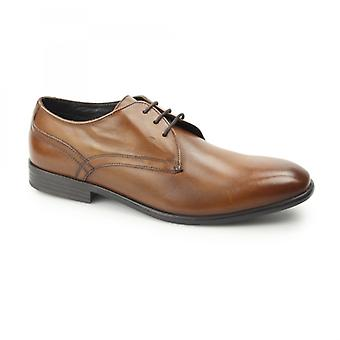 Base London Page Mens Washed Leather Derby Shoes Tan