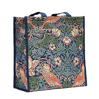 William morris - strawberry thief blue reusable shopper bag by signare tapestry / shop-stbl