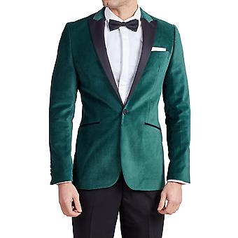 Dobell Herre Racing grøn velour smoking jakke regelmæssig Fit kontrast Peak revers