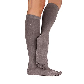 TOETOE Essential Everyday Unisex Knee-High Plain Cotton Toe Socks
