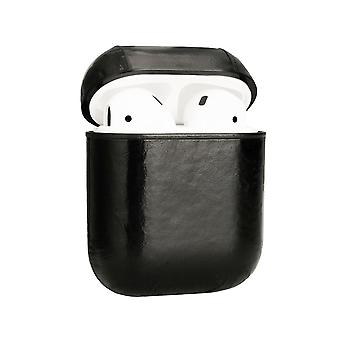 For Apple AirPods 1/2 Case Genuine Leather Shockproof Box, Oil Wax Pattern Black