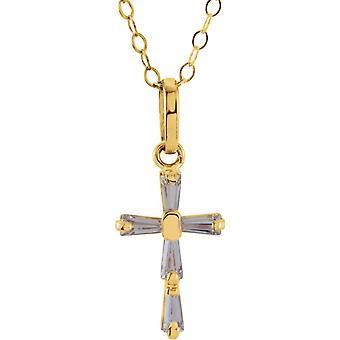 Kolye 14k Sarı Altın 3x1.5mm CZ Kübik Zirkon Simüle Elmas Cilalı Kübik Zirkonya Dini İnanç Cross ile