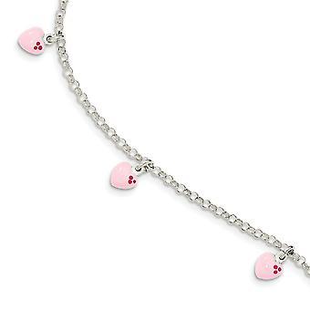 925 Sterling Silver Polished for boys or girls Enameled Love Heart Bracelet 6 Inch