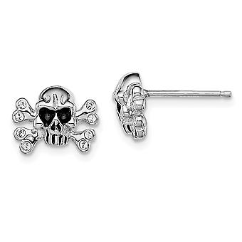 925 Sterling Silver Madi K With Crystals Skull Post Earrings Jewelry Gifts for Women - 2.5 Grams