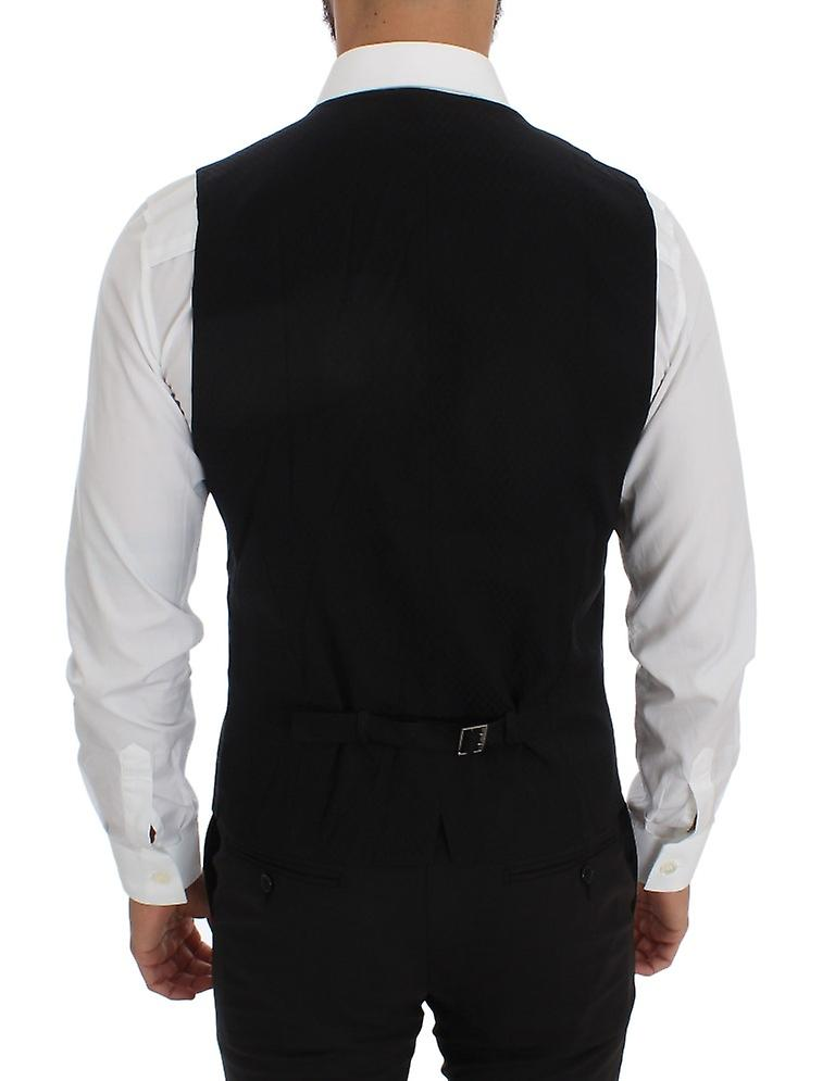 Blue Wool Blend Crown Bee Formal Vest