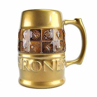 Game Of Thrones Mug Tankard House Sigils Galaxic Glaze new Official Gold Boxed