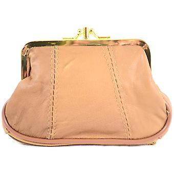 Ladies Leather Triple Frame Fastening Coin Purse / Pouch ( Tan )