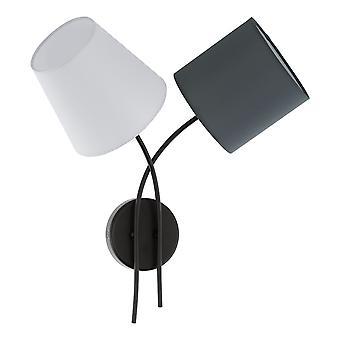 Eglo - Almeida 2 Light Wall sopiva musta viimeistely ja värillinen kangas Shades EG95193