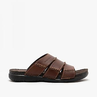 Hush Puppies Cameron Mens Leather Mule Sandals Brown