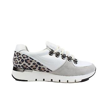 Caprice 23705 White/Leopard Print Leather Womens Lace Up Trainers