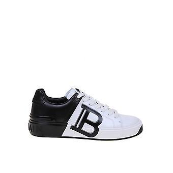 Balmain Tn1c328lscbgab Damen's Weiß/Schwarz Leder Sneakers