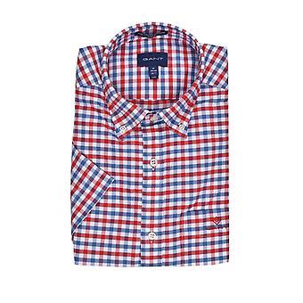 Gant De Oxford 2 Col Gingham korte mouw shirt helder rood