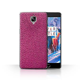 STUFF4 Case/Cover for OnePlus 3/3T/Raspberry Pink/Leather Patch Effect