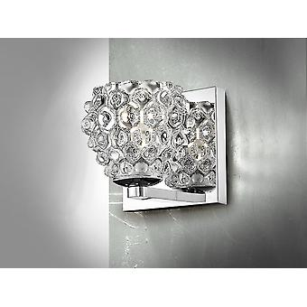 Schuller Hestia II - Wall lamp of 1 light made of metal, chrome finish. Pressed clear glass shade. - 956241