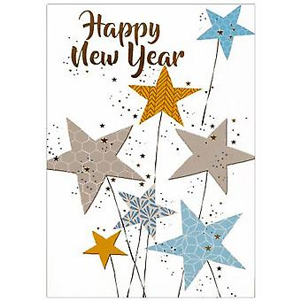 Simon Elvin Stars Happy New Year Cards (Pack of 6)