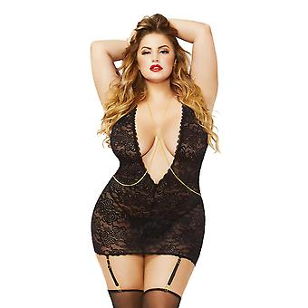 Plus Size Sexy Plunging Floral Lace Halter Chemise Lingerie