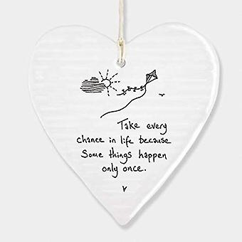 East of India Wobbly Porcelain Hanging Heart 'Take Every Chance..'