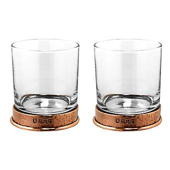 Pewter Rose Hammered Whisky Glass Tumbler - Set of 2