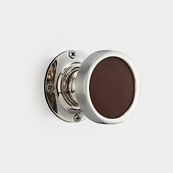Brass Interior Door Knob - Brown Leather