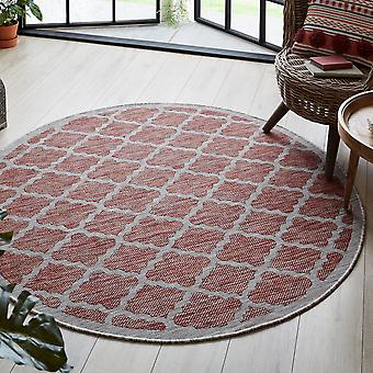 Florence Alfresco Padua Circle Round Outdoor Rugs In Red Beige