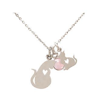 Corrente mãe gato mãe + gatinho CAT 925 prata, banhado a ouro, rosa, quartzo rosa