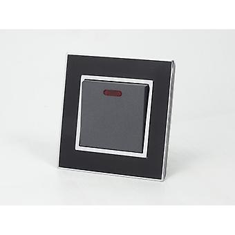 Eu LumoS como luxo preto espelho vidro 20A comutada único interruptor