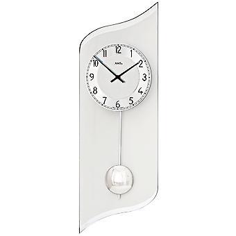 AMS 7436 wall clock quartz with pendulum silver pendulum clock with aluminium and glass