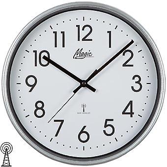 Magic 4491/19 wall clock radio radio controlled wall clock analog silver round plain