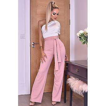 Dior One Shoulder Ruched Jumpsuit - Pink